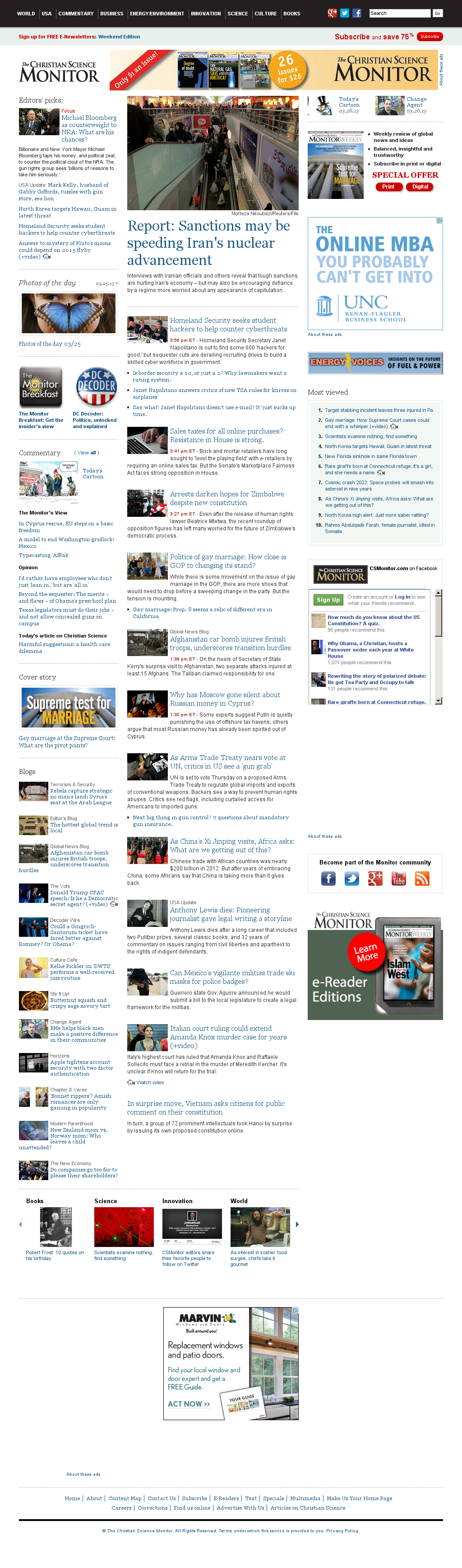 The Christian Science Monitor at Tuesday March 26, 2013, 8:07 p.m. UTC