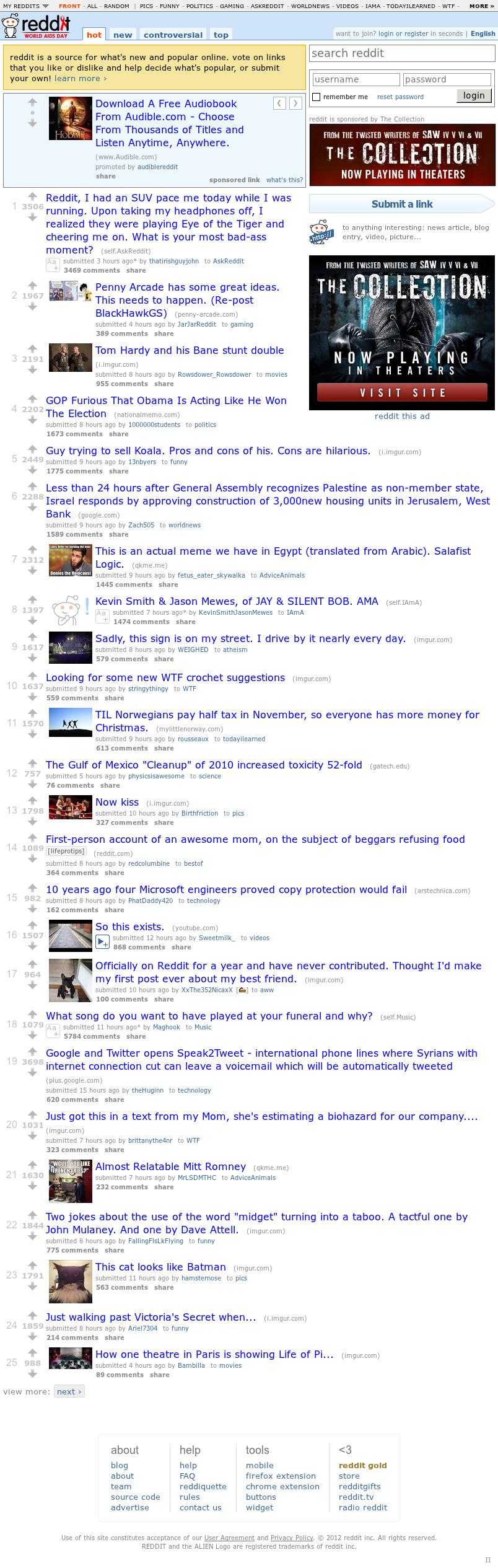 Reddit at Saturday Dec. 1, 2012, 12:30 a.m. UTC