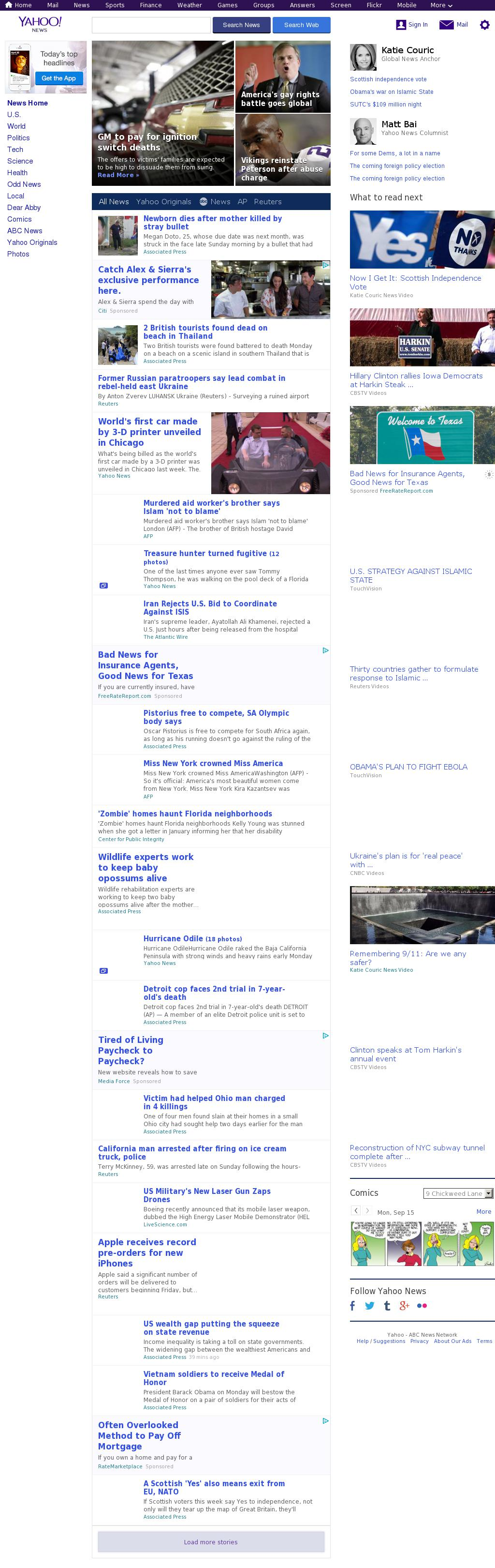 Yahoo! News at Monday Sept. 15, 2014, 4:19 p.m. UTC