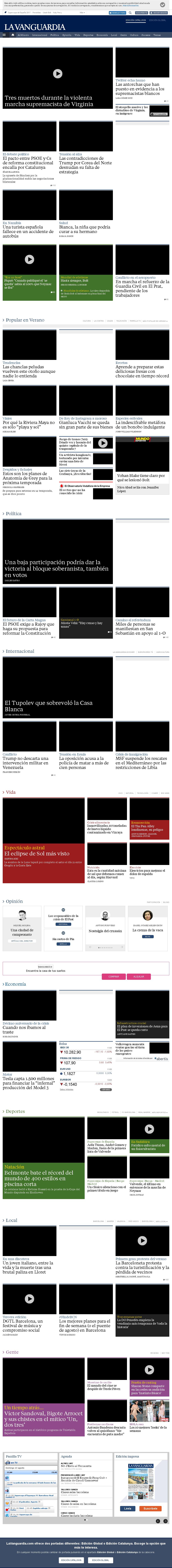 La Vanguardia at Sunday Aug. 13, 2017, 6:19 a.m. UTC