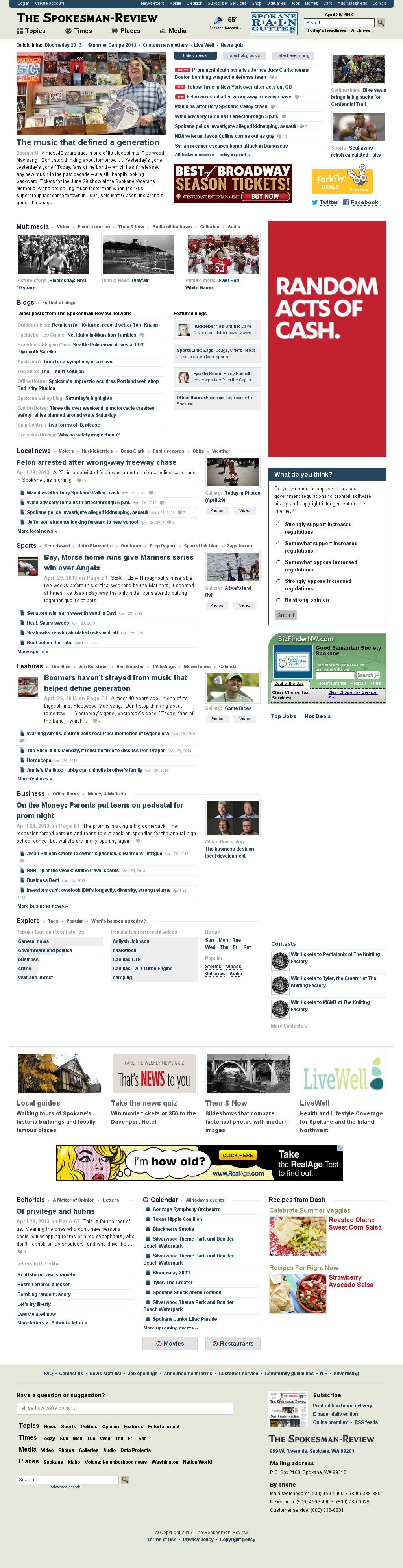 The (Spokane) Spokesman-Review at Monday April 29, 2013, 10:22 p.m. UTC