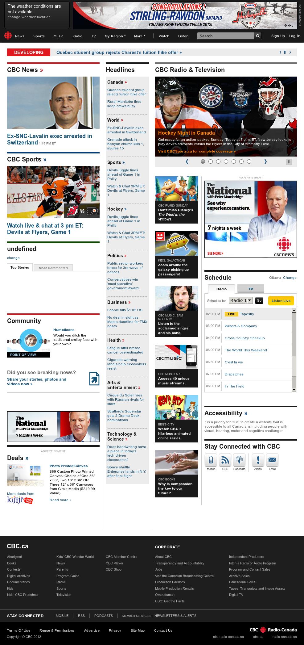 CBC at Sunday April 29, 2012, 6:02 p.m. UTC