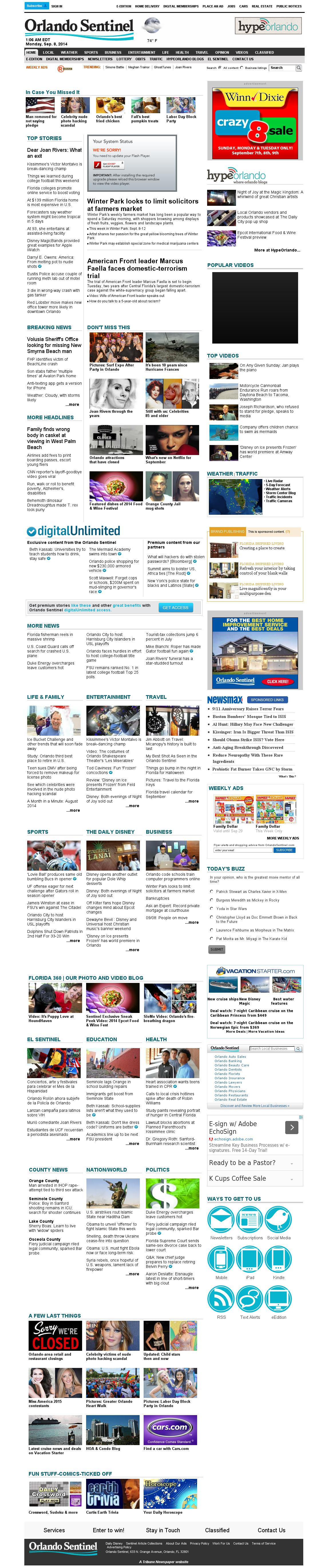 Orlando Sentinel at Monday Sept. 8, 2014, 5:12 a.m. UTC