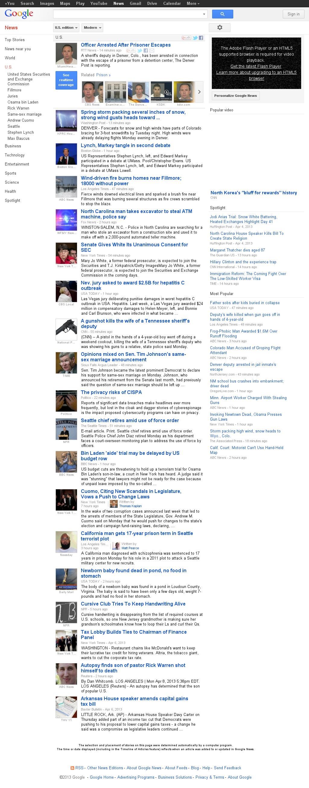 Google News: U.S. at Tuesday April 9, 2013, 2:09 a.m. UTC
