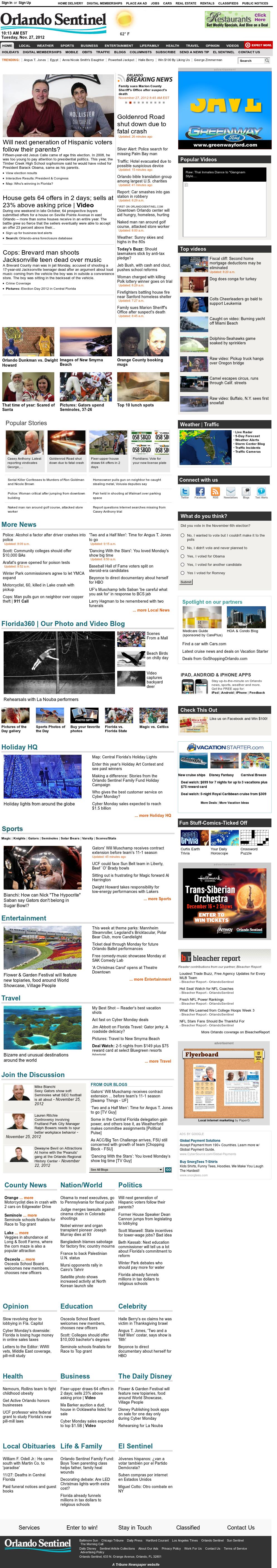 Orlando Sentinel at Tuesday Nov. 27, 2012, 3:20 p.m. UTC