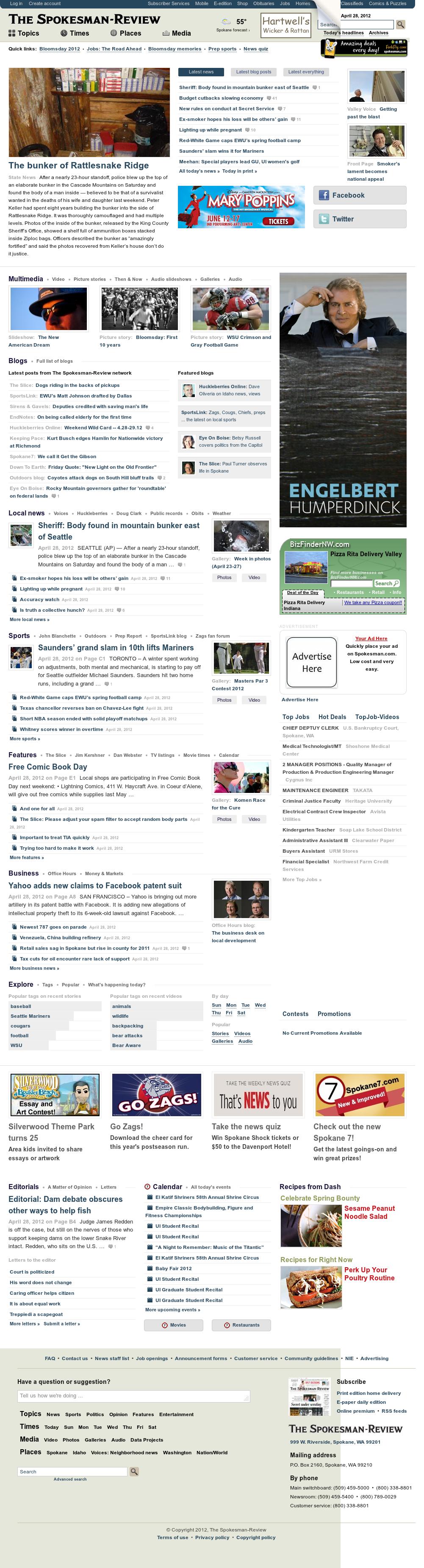 The (Spokane) Spokesman-Review at Saturday April 28, 2012, 10:16 p.m. UTC