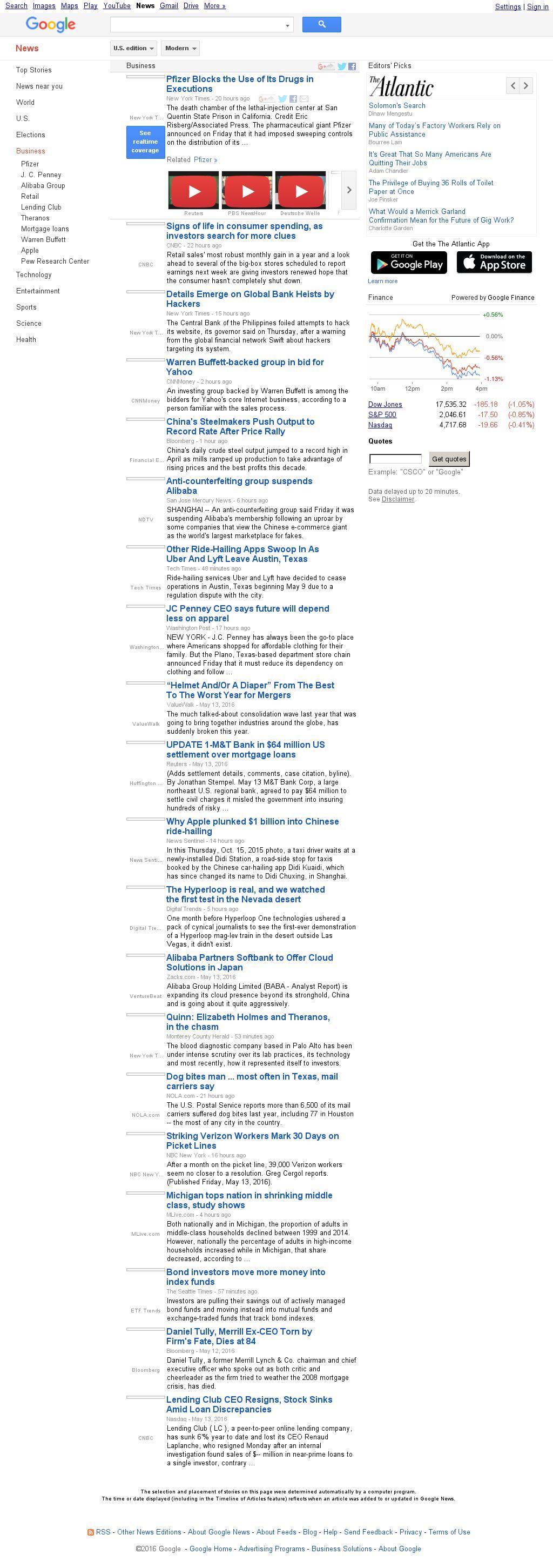 Google News: Business at Saturday May 14, 2016, 4:06 p.m. UTC