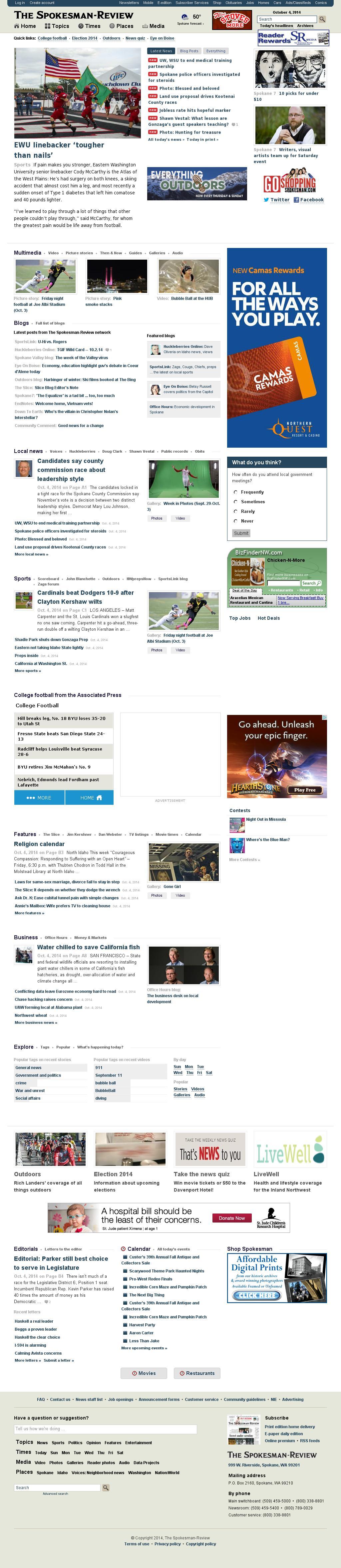 The (Spokane) Spokesman-Review at Saturday Oct. 4, 2014, 9:18 a.m. UTC