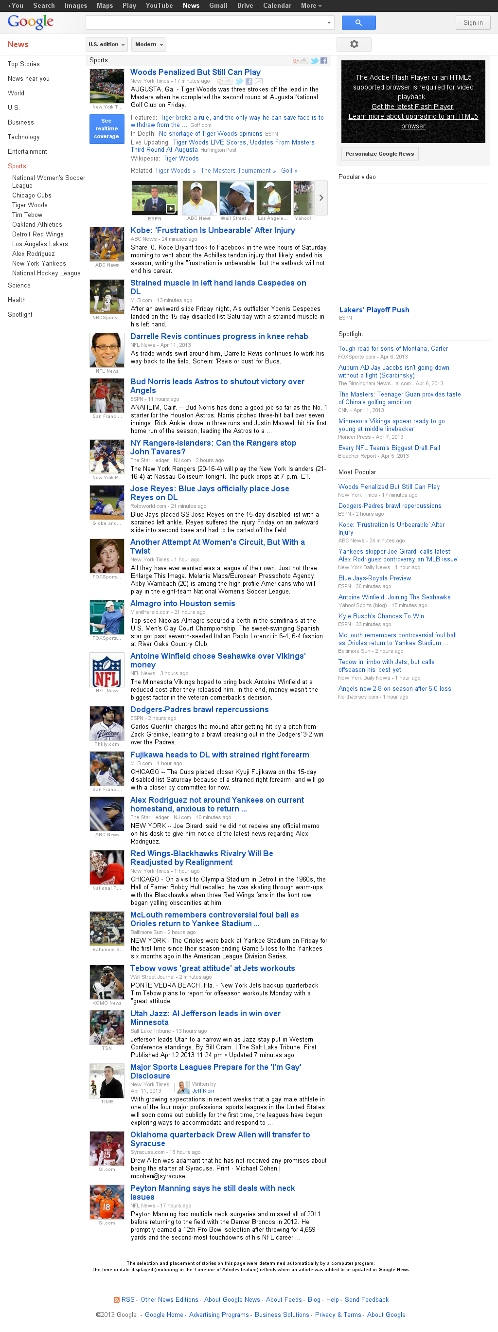 Google News: Sports at Saturday April 13, 2013, 7:08 p.m. UTC