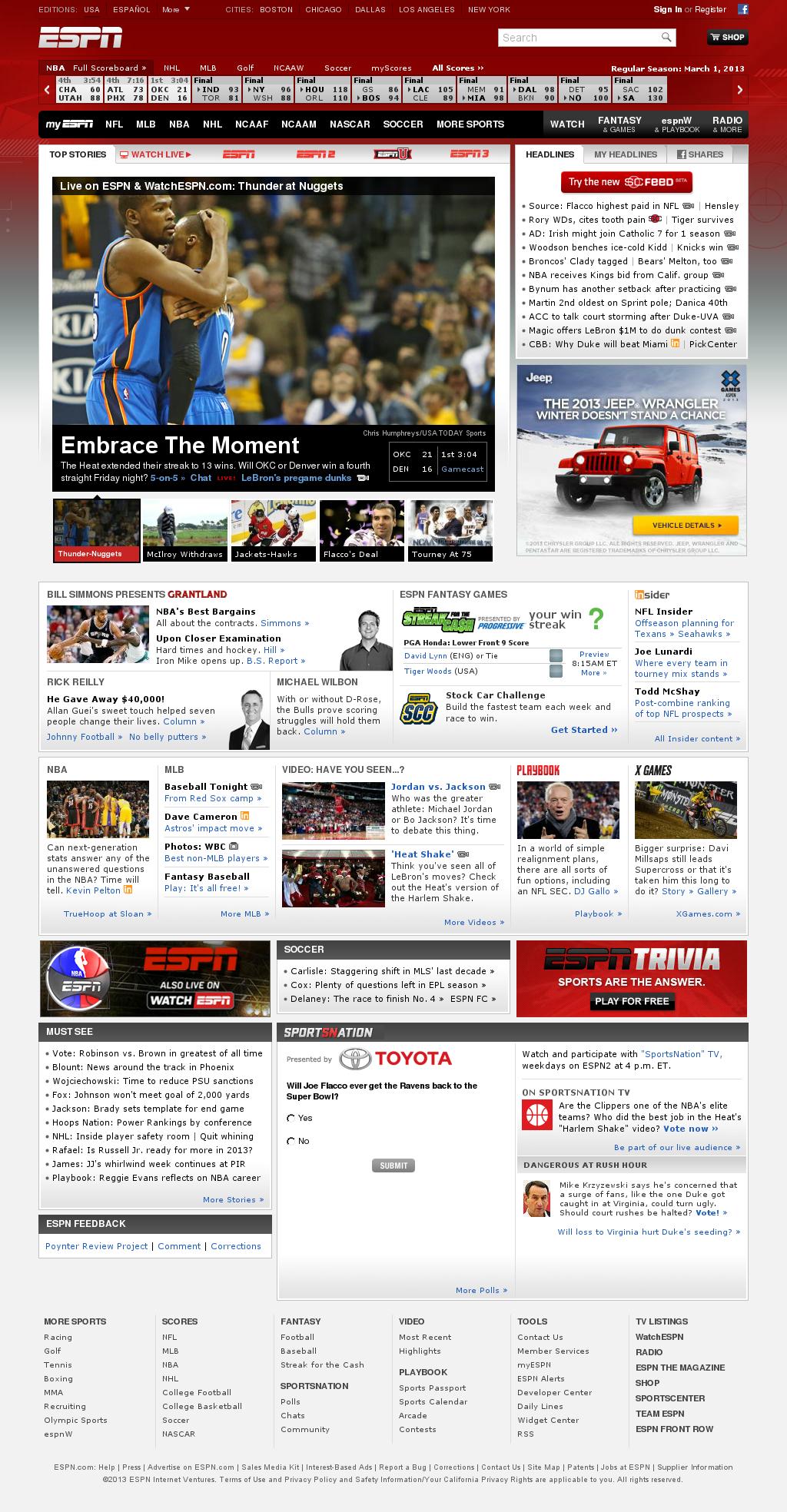 ESPN at Saturday March 2, 2013, 4:05 a.m. UTC