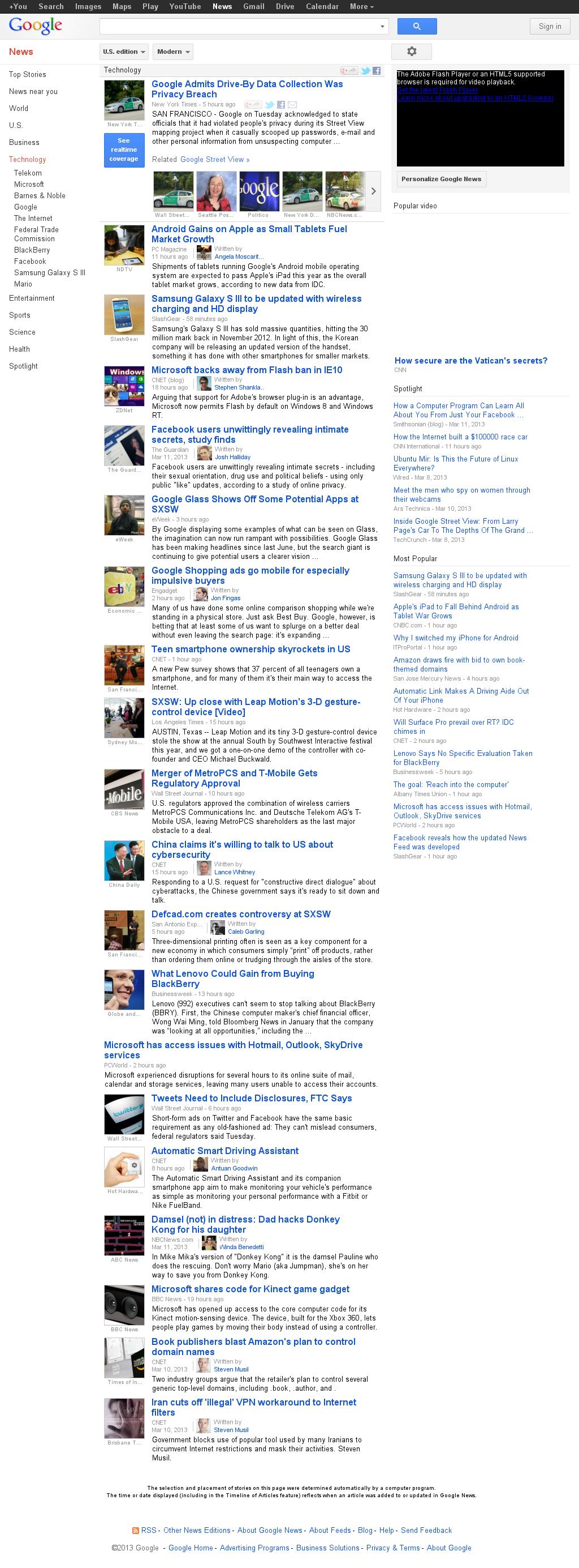 Google News: Technology at Wednesday March 13, 2013, 7:08 a.m. UTC