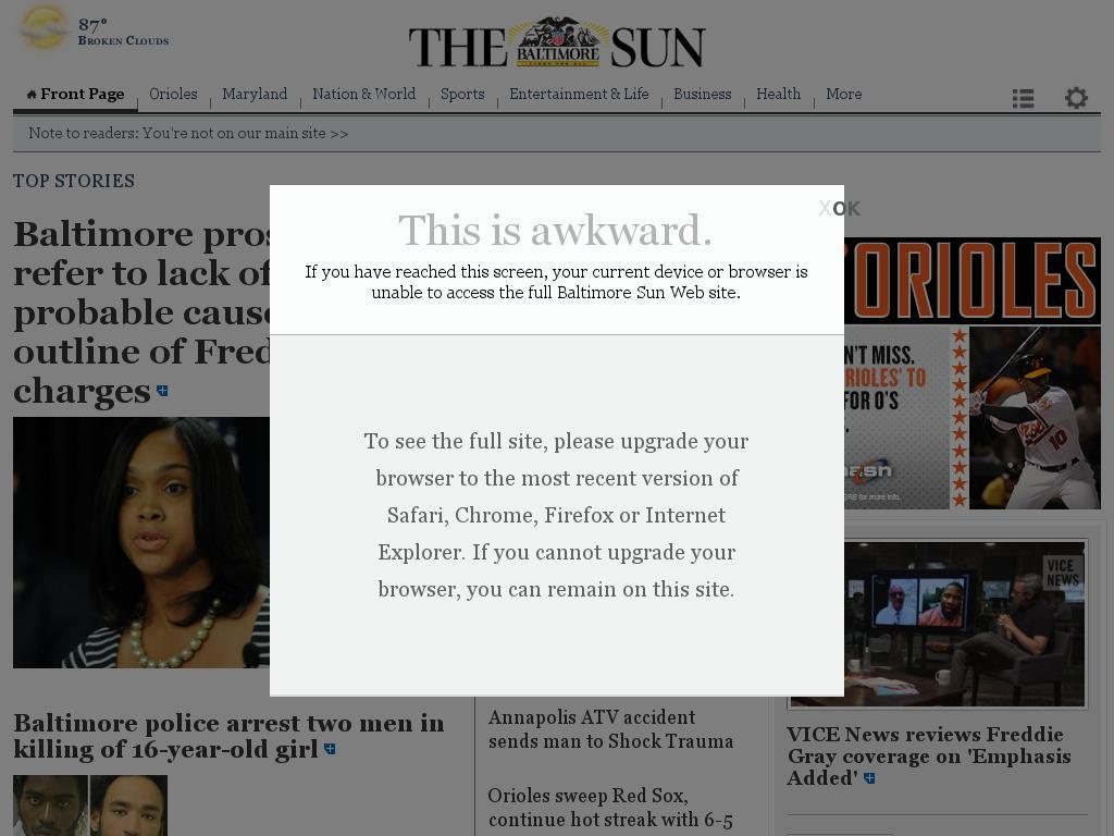 The Baltimore Sun at Friday June 12, 2015, 4 p.m. UTC