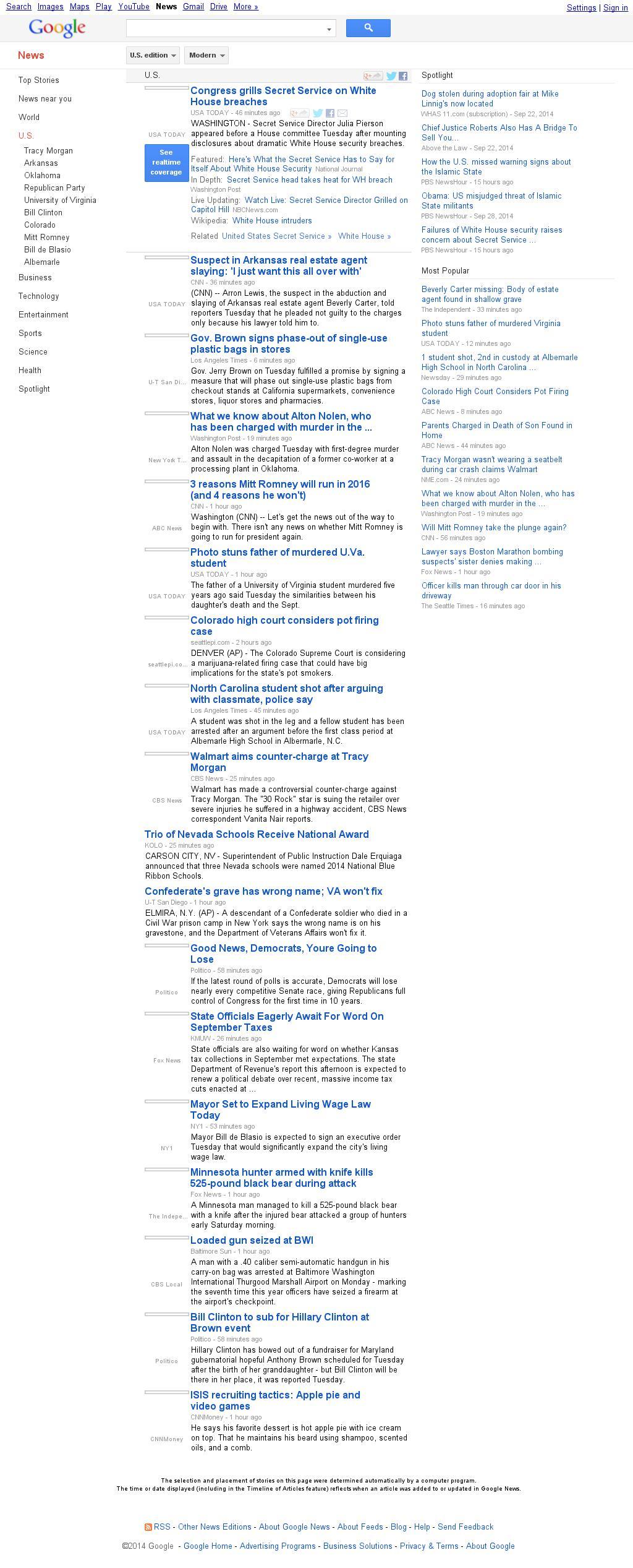 Google News: U.S. at Tuesday Sept. 30, 2014, 5:06 p.m. UTC