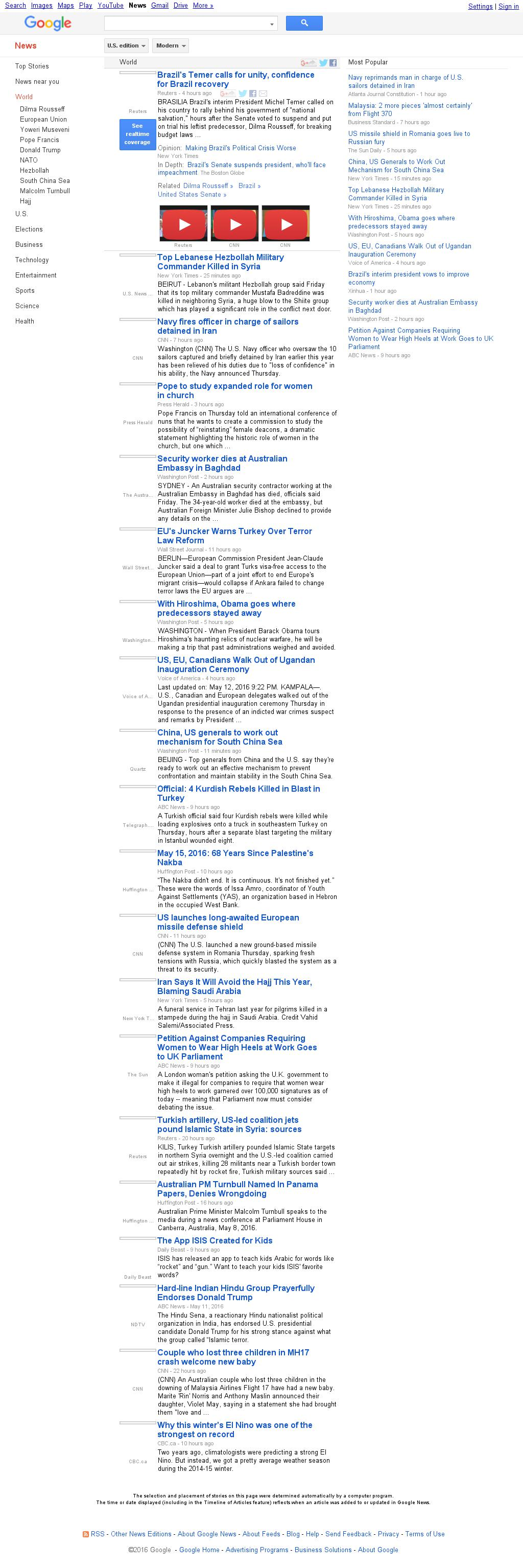 Google News: World at Friday May 13, 2016, 6:09 a.m. UTC