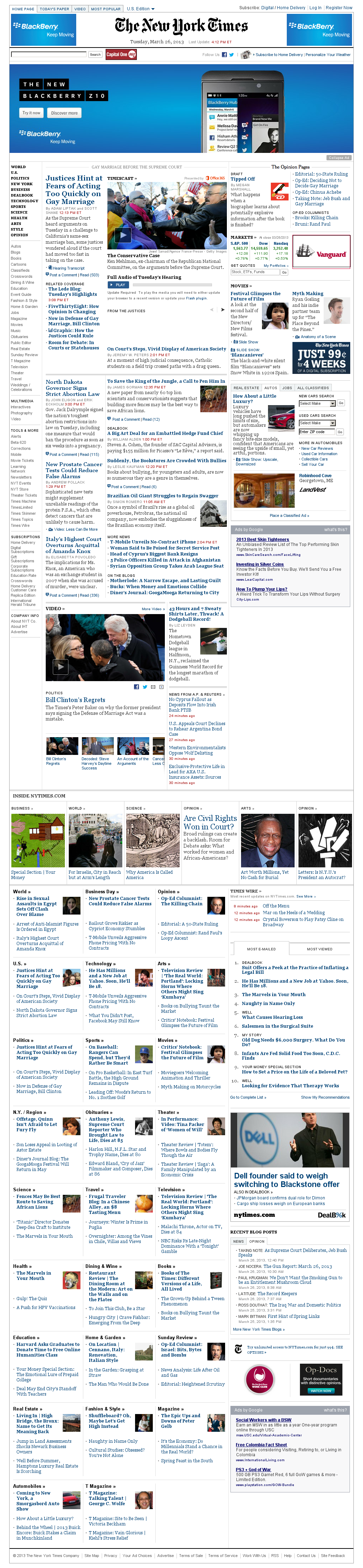 The New York Times at Tuesday March 26, 2013, 8:30 p.m. UTC