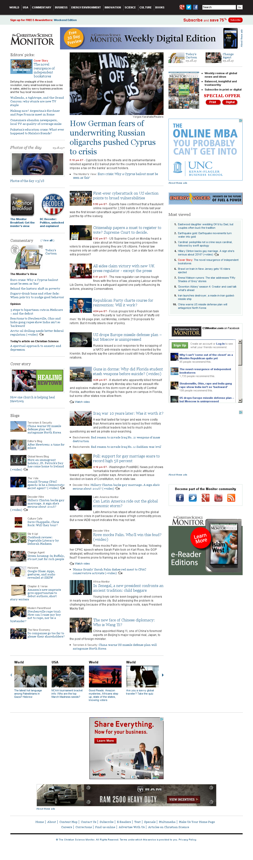 The Christian Science Monitor at Monday March 18, 2013, 11:03 p.m. UTC
