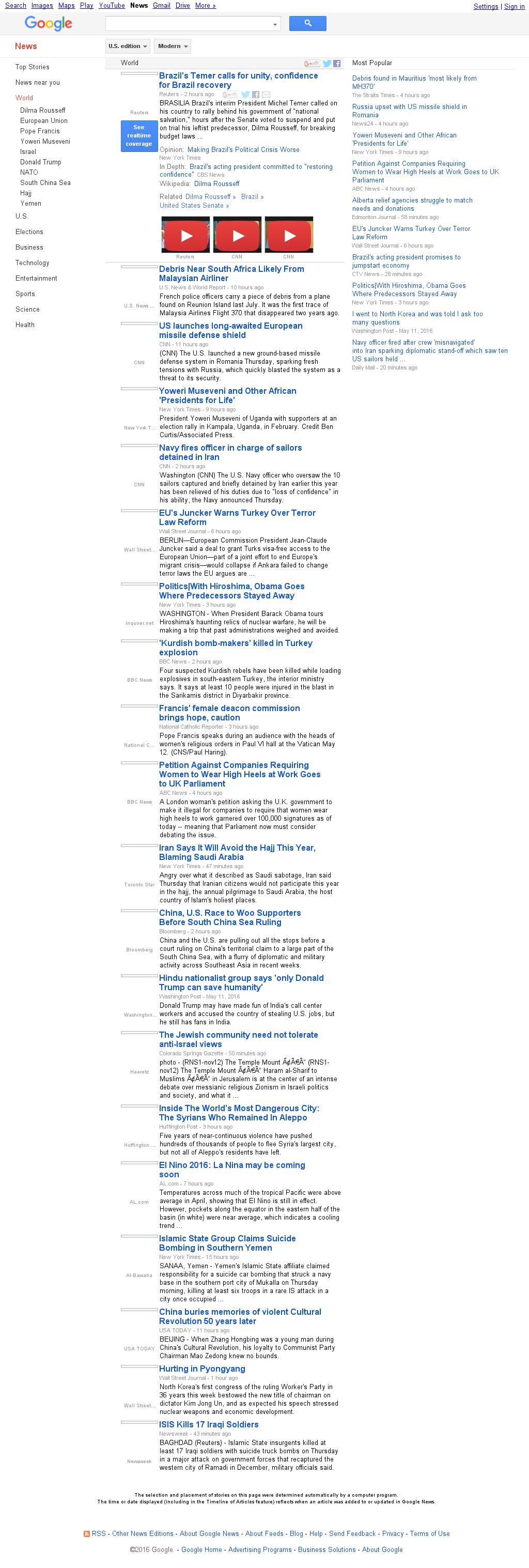 Google News: World at Friday May 13, 2016, 1:08 a.m. UTC