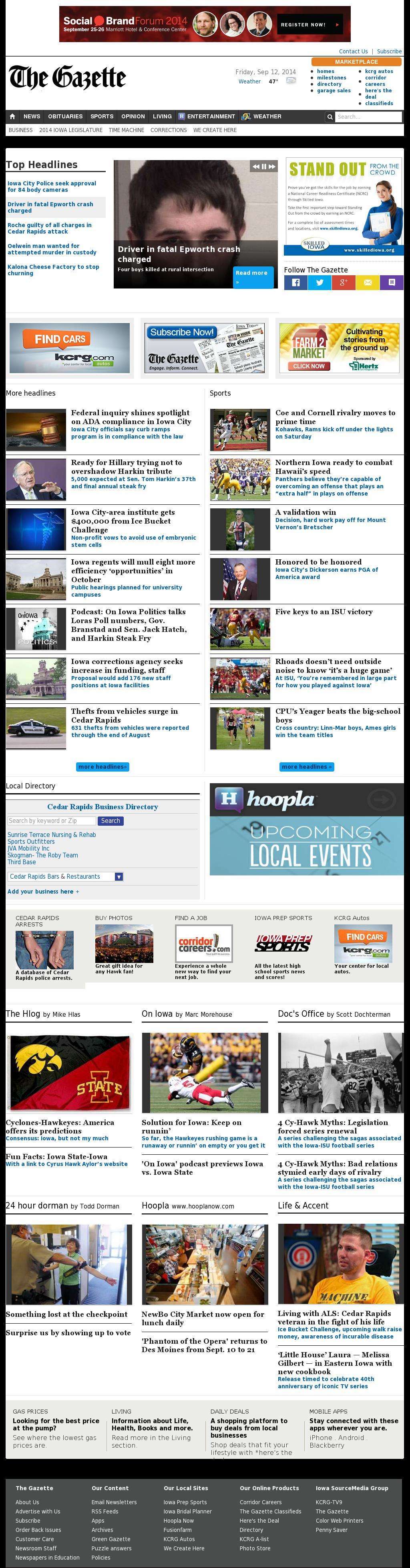 The (Cedar Rapids) Gazette at Saturday Sept. 13, 2014, 2:08 a.m. UTC