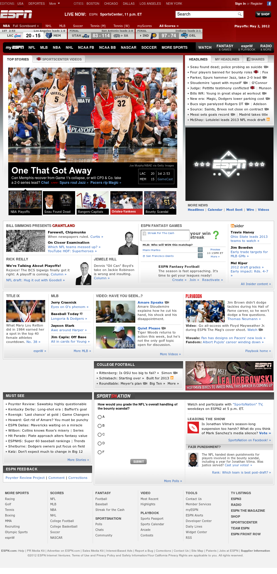 ESPN at Thursday May 3, 2012, 2:04 a.m. UTC