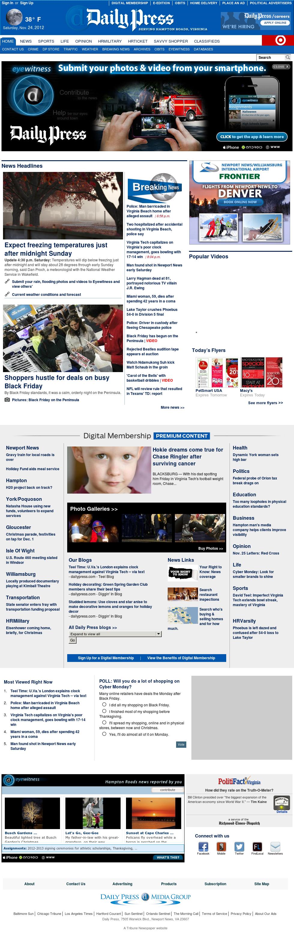 (Hampton Roads) Daily Press at Sunday Nov. 25, 2012, 2:05 a.m. UTC