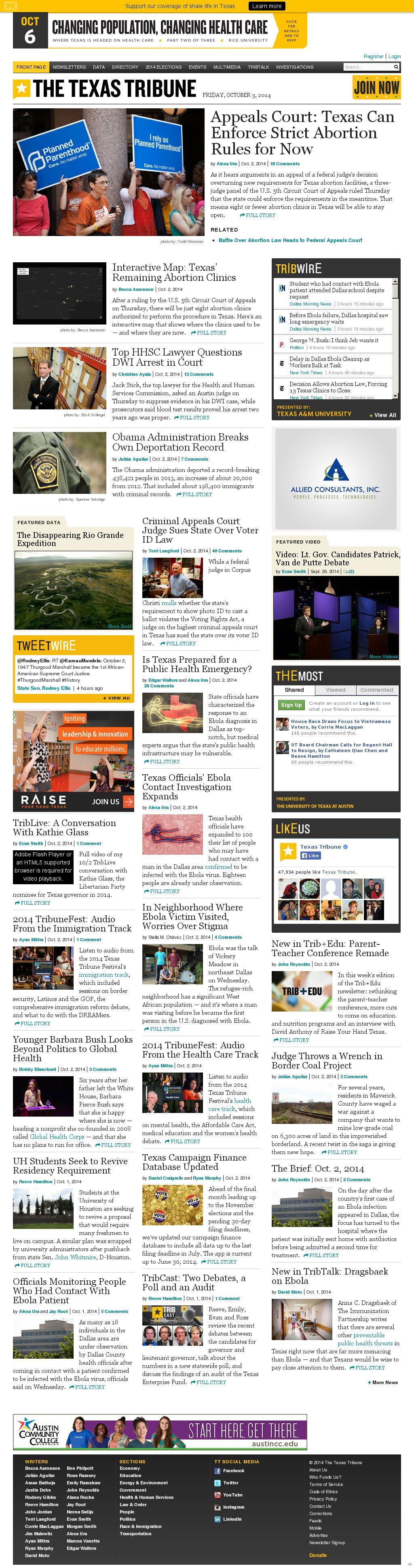 The Texas Tribune at Friday Oct. 3, 2014, 8:15 a.m. UTC