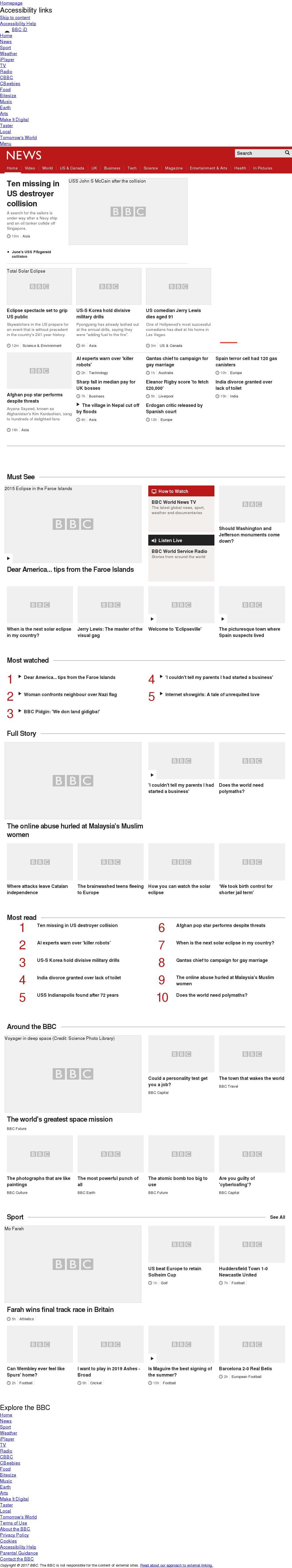 BBC at Monday Aug. 21, 2017, 6:01 a.m. UTC