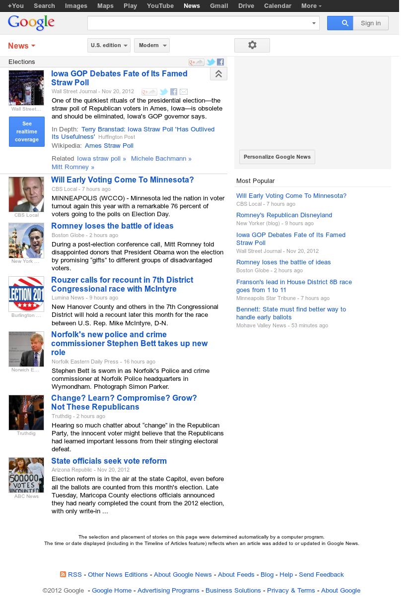 Google News: Elections at Thursday Nov. 22, 2012, 8:12 a.m. UTC