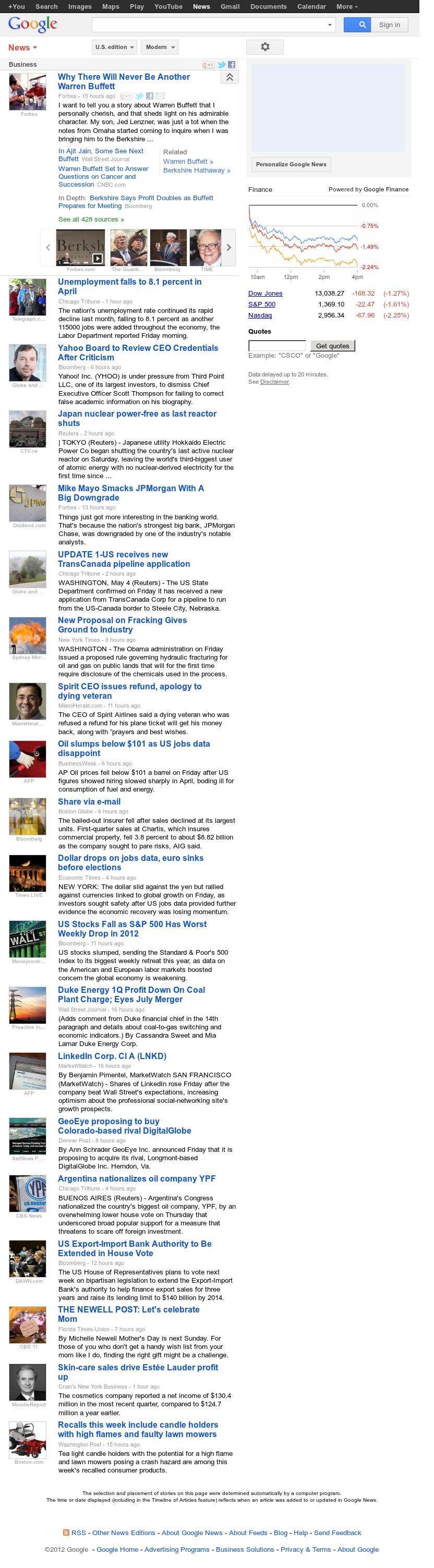 Google News: Business at Saturday May 5, 2012, 11:05 a.m. UTC
