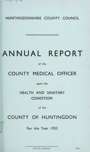 Cover of: [Report 1953] by Huntingdonshire (England). County Council