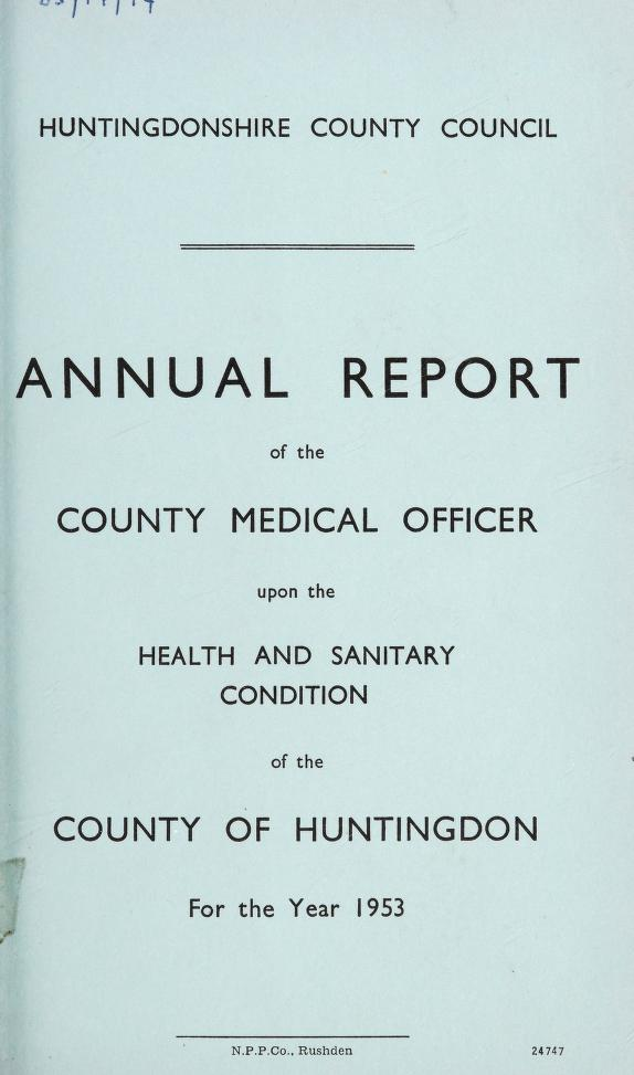 [Report 1953] by Huntingdonshire (England). County Council